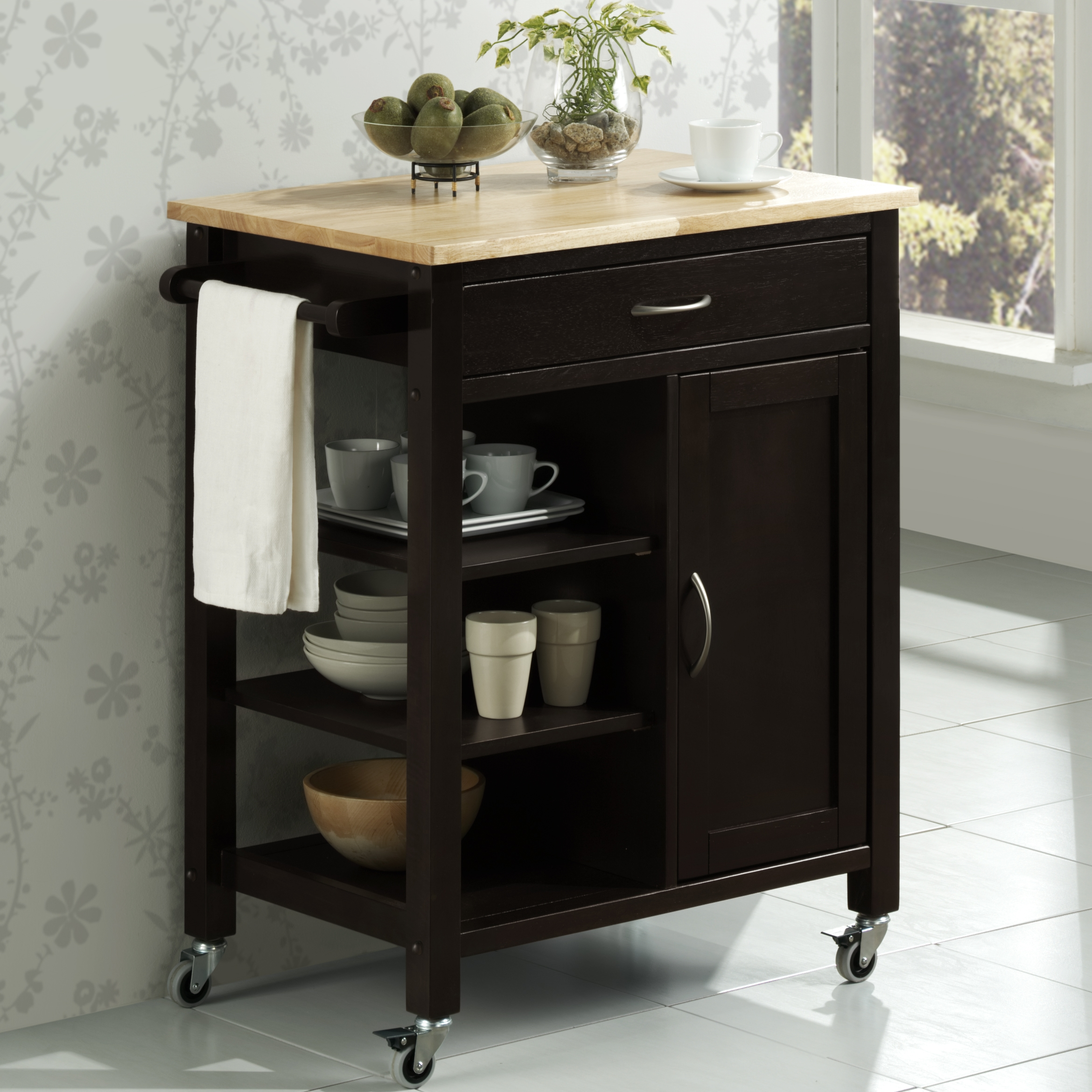edmonton kitchen cart black walmart com