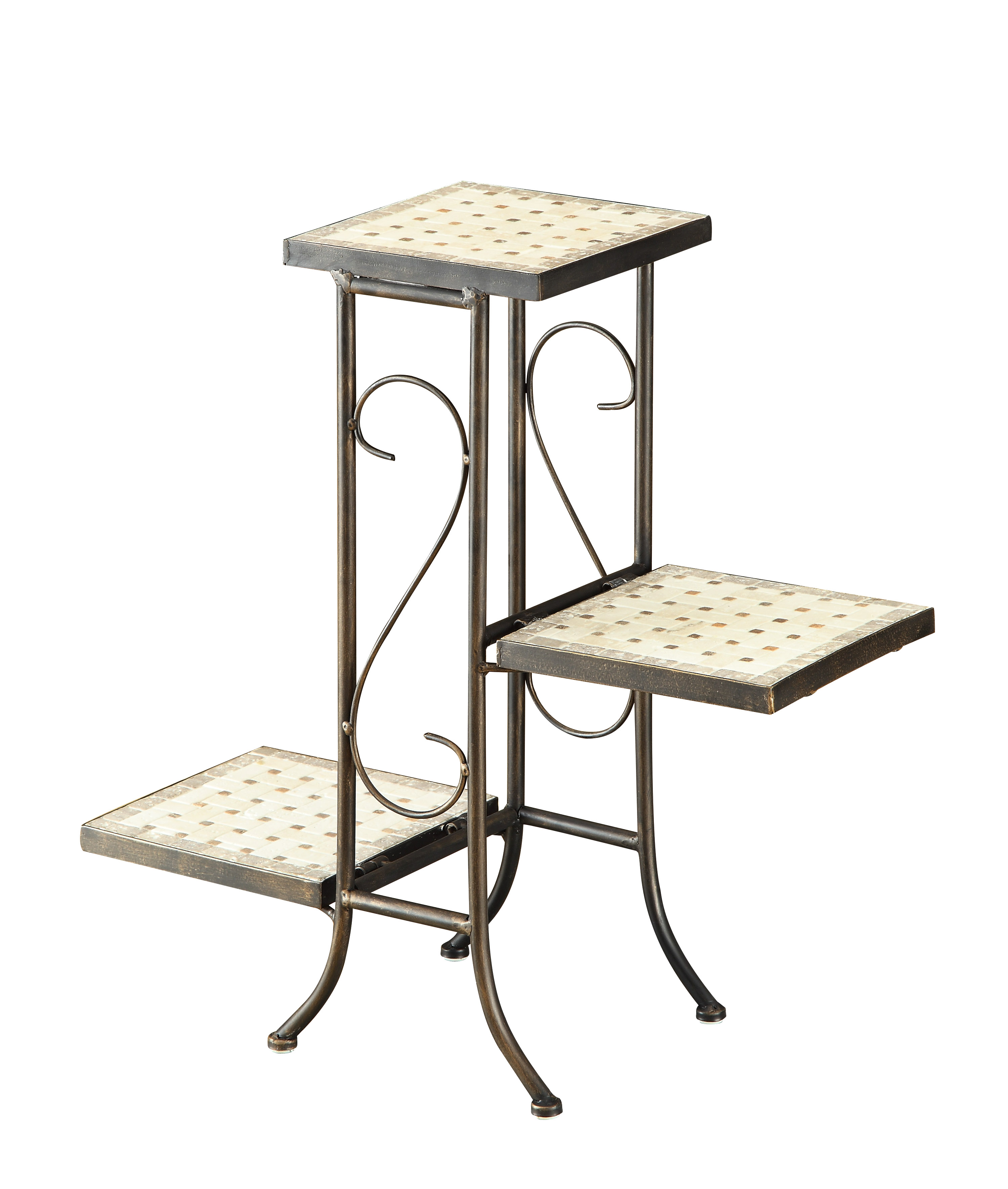 3 tier plant stand w travertine top