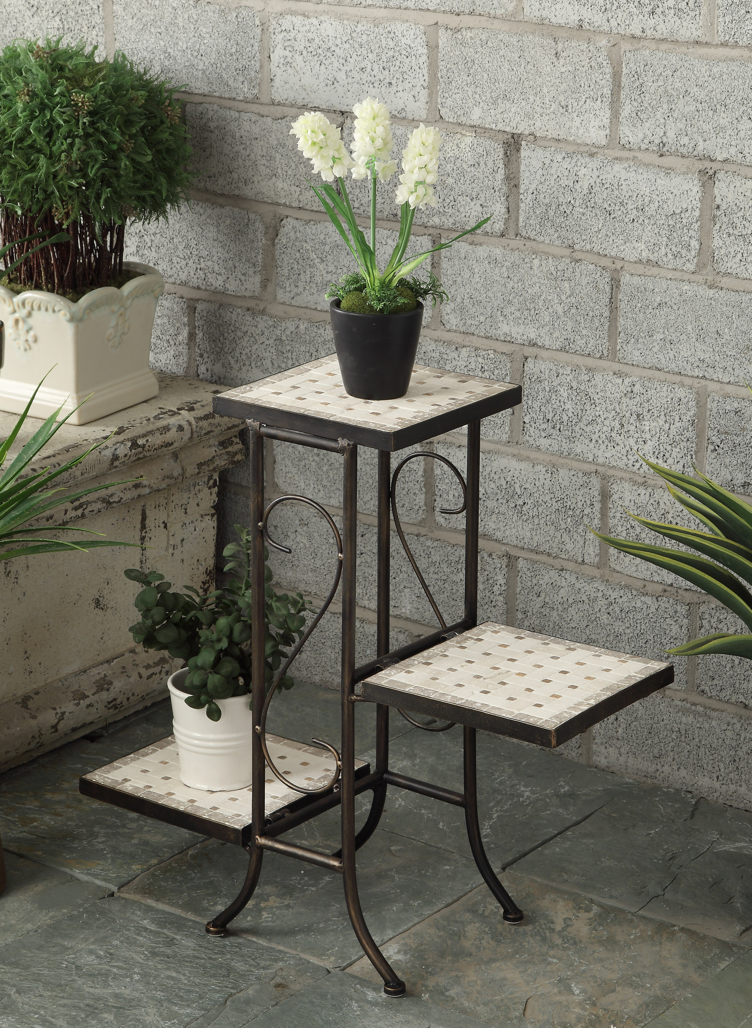 3 tier plant stand w travertine top - Tier plant stand outdoor ...