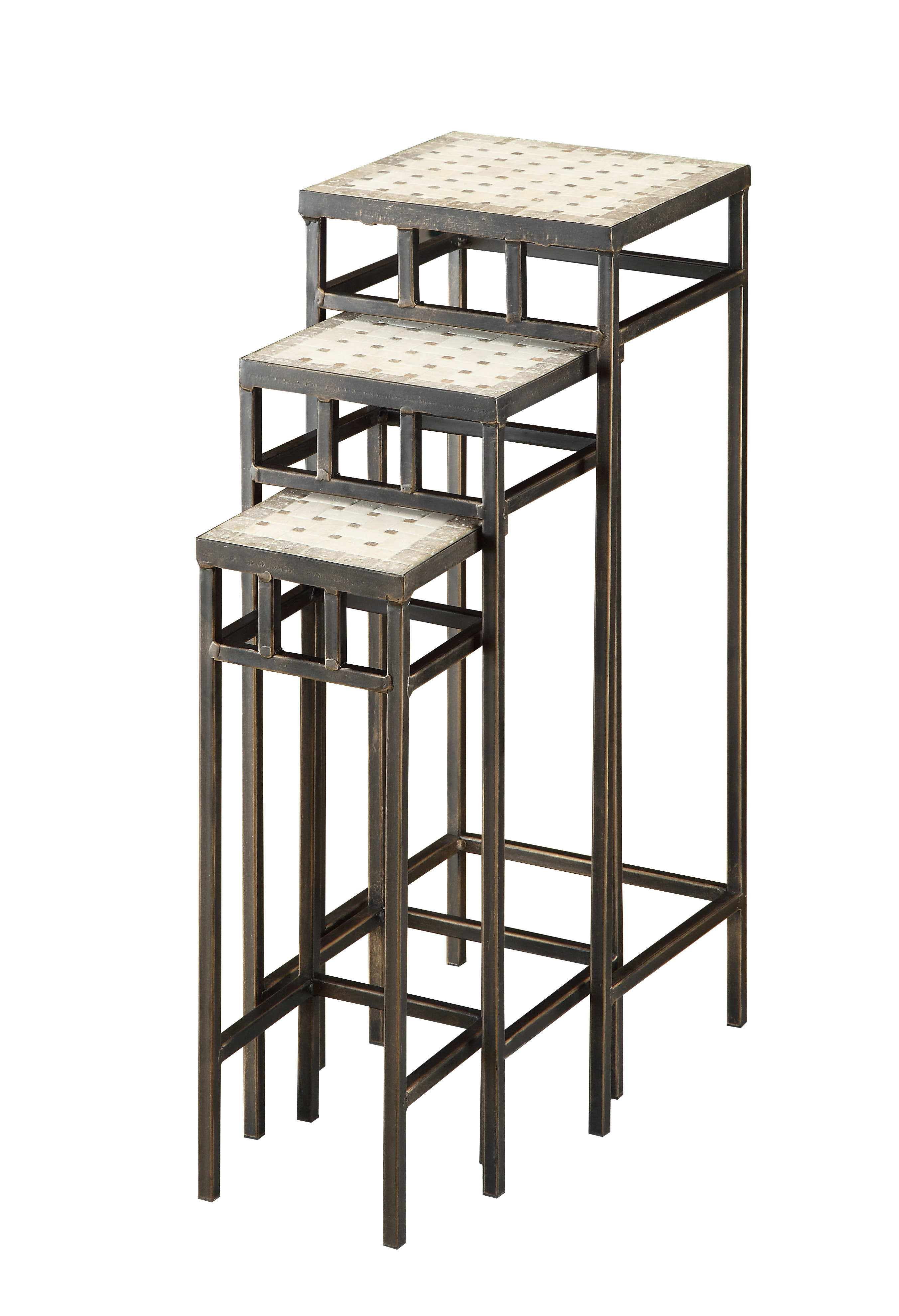 Piece Slate Square Plant Stands W/ Travertine Tops. Full resolution  photograph, nominally Width 2704 Height 3960 pixels, photograph with #5C4F40.
